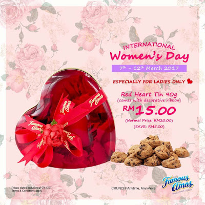 Famous Amos Malaysia Red Heart Tin Cookies International Women's Day Discount Promo