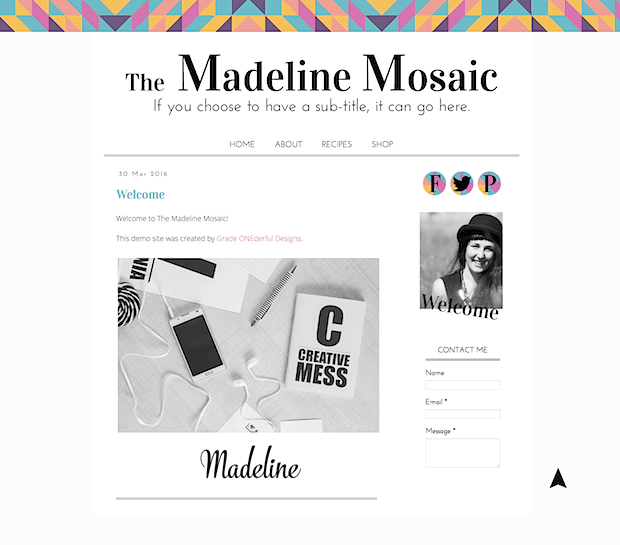 Pre-Made Blogger Template: Only $25, including installation. A beautiful minimalistic blogger template with a splash of geometric color in the top border. This is a super pretty and modern design!