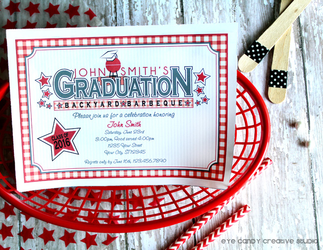 graduation party, class of, backyard bbq, grad party invite, cookout