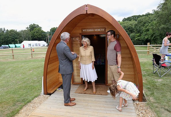 Duchess Camilla visits the Poppy Pod Village at Tile Barn Outdoor Centre, Princess Charlotte, Prince George, kate Middleton