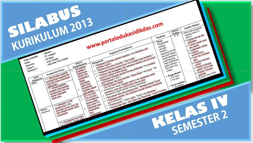 Silabus Kelas 4 Semester 2 Kurikulum 2013 Format Lengkap Portal Edukasi Dikdas
