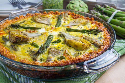 Asparagus, Baby Artichoke, Pesto and Goat Cheese Quiche with Quinoa Crust Recipe