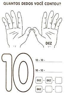 Numeral 10 escrever e colorir