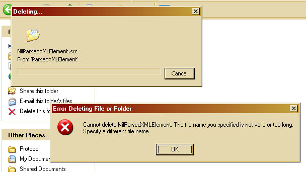 Error Deleting File or Folder: Is There A Problem Here?: Error