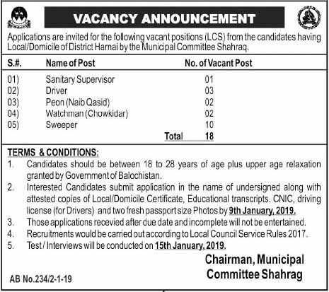 Darja Chahram jobs in Municipal Committee Shahrag 2019