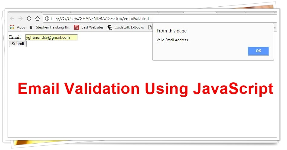 Validating email address in javascript output