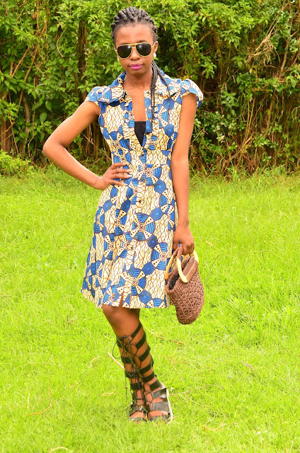 Wearing Knee High Gladiator Sandals With a Stylish Ankara Dress