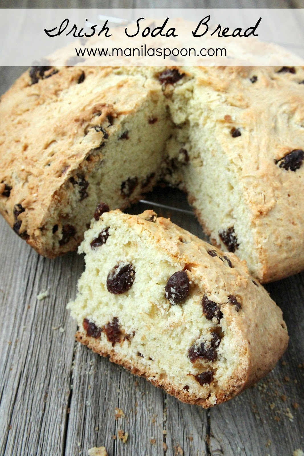 It doesn't require much effort to make this delicious Irish Soda Bread made even more flavorful with the addition of sweet raisins. Enjoy for tea time or with your coffee. SO GOOD!! #irish #sodabread