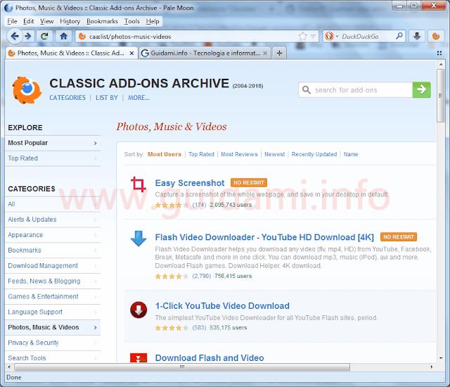 Pale Moon con il catalogo classiche estensioni Firefox Classic Add-Ons Archive