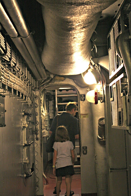 Taking a peek below deck on the Battleship North Carolina.