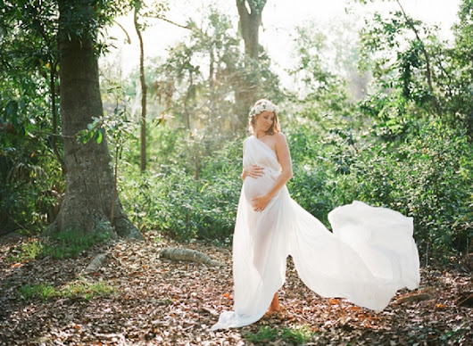 An Ethereal Maternity Session on Film by Esther Louise Photography featuring the Beautiful Elouise Couture Gowns