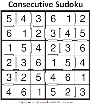Answer of Consecutive Sudoku Puzzle (Mini Sudoku Series #117)