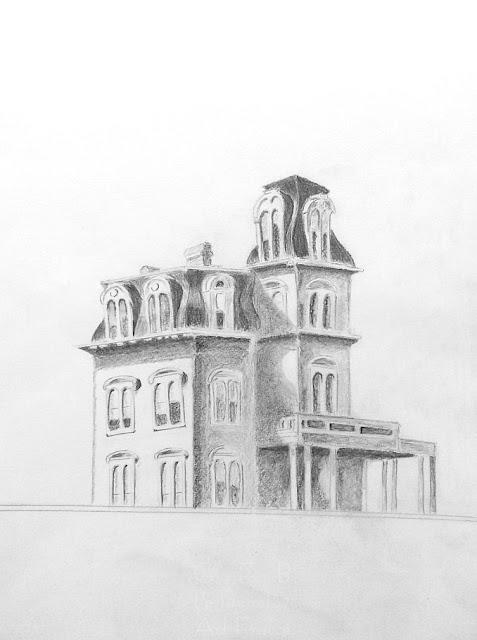 Cours de dessin Ateliers LT37 -  La Maison du chemin de fer d'après Edward Hopper - dessin de Jean-Pierre B - crayon graphite -  Montlouis sur loire      tours       St Avertin      amboise      langeais       37270         joué les tours