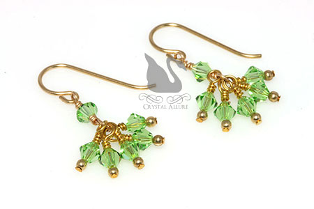 August Birthstone: Golden Peridot Crystal Cluster Earrings (E149)