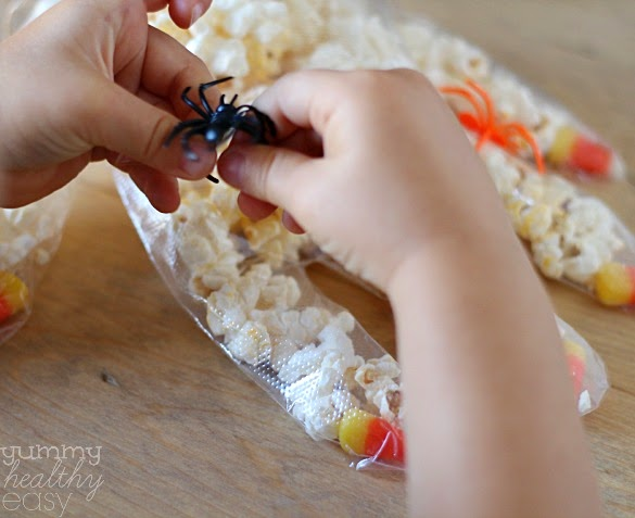 Fun Halloween Craft To Make With Kids Disposable Gloves With Candy Corn Fingernails Filled Halloween Candy Corn Popcorn Hands