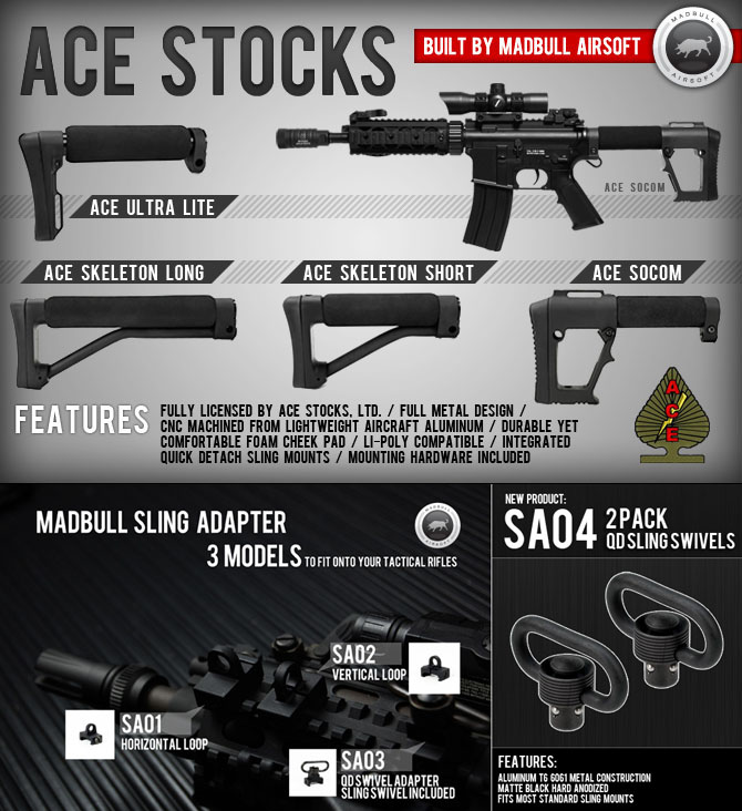 Tactical World: Madbull ACE Stock and 2 Pack QD Swivels