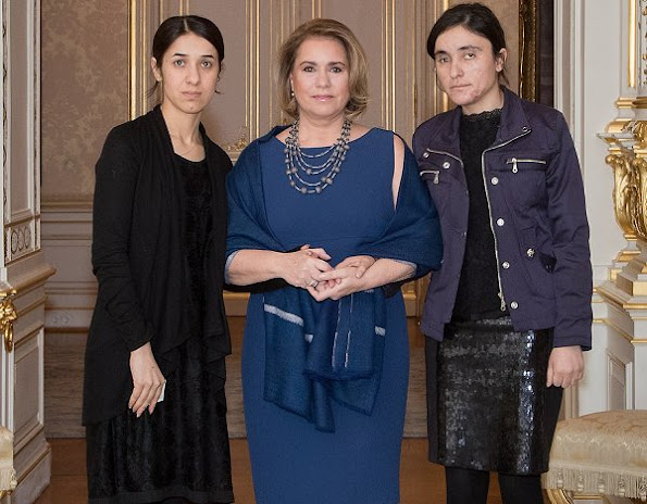 Nadia Murad Basee and Lamiya Aji Bashar who are Iraqi Yazidi human rights women activists at the Grand Ducal Palace