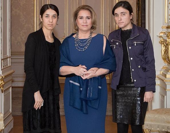 Nadia Murad Basee and Lamiya Aji Bashar who are Iraqi Yazidi human rights women activists at the Grand Ducal Palace
