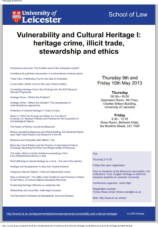 Conference Schedule, Vulnerability & Cultural Heritage, Leicester 9-10 of May