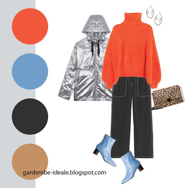 Черные брюки карго с оранжевым свитером и металлизированной курткой
