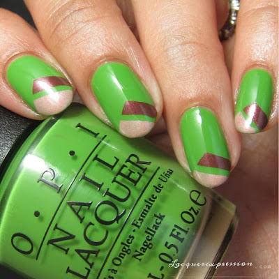 nail art with pantone color of the year Greenery paired with warm and neutral tones