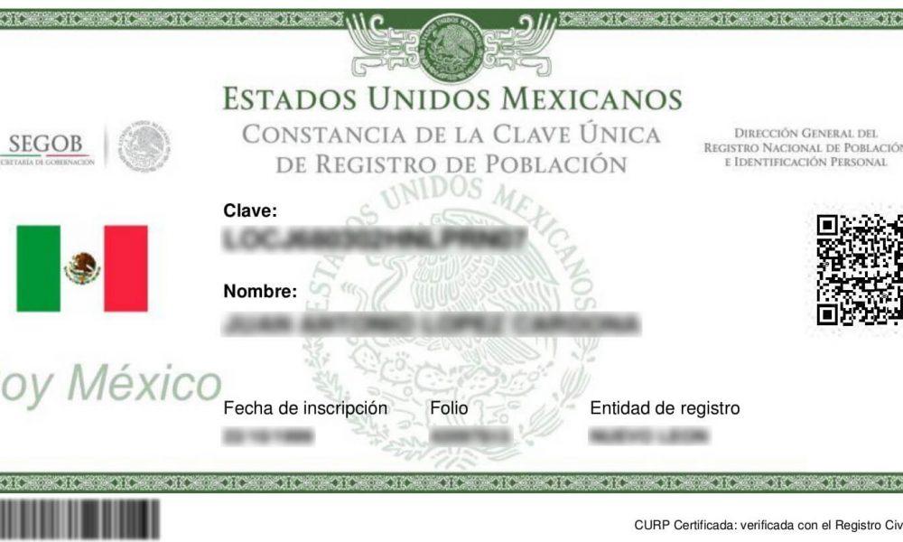 Constancia de Clave Unica de Registro de Poblacion Verificada Actualizada para descargar