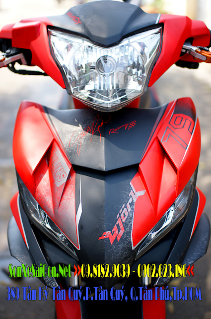 Sơn tem đấu xe Exciter 135 màu đỏ đen nhám phong cách Gjork