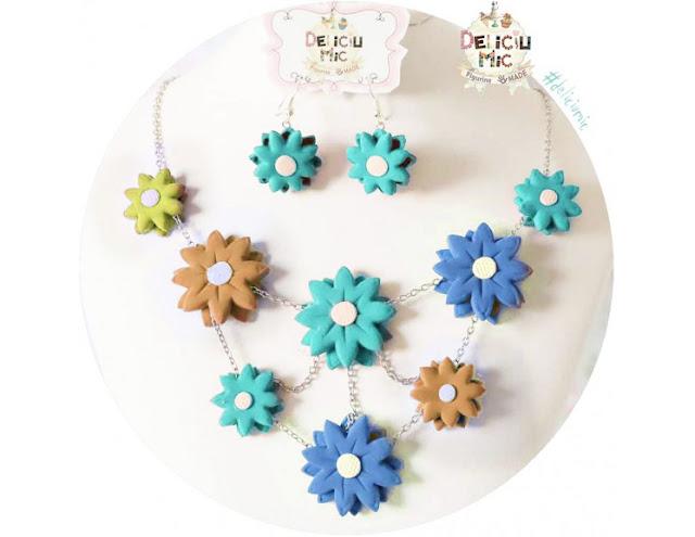 cercei flori multicolore