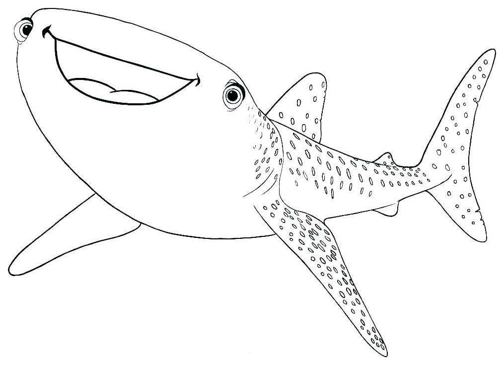 Tranh cho bé tô màu con cá mập 2