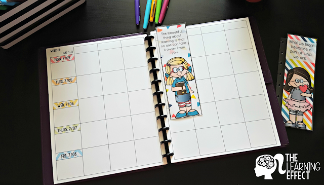 Teacher planner weekly layout