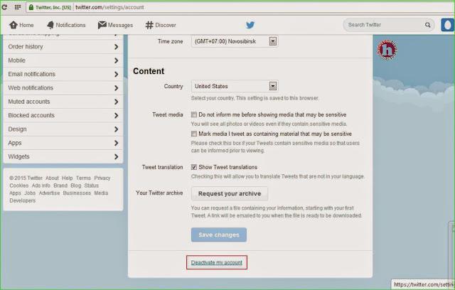 Bagaimana caranya menghapus akun twitter