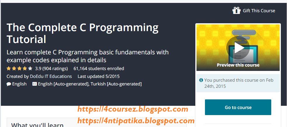 The Complete C Programming Tutorial | 4nti's Free Udemy Courses