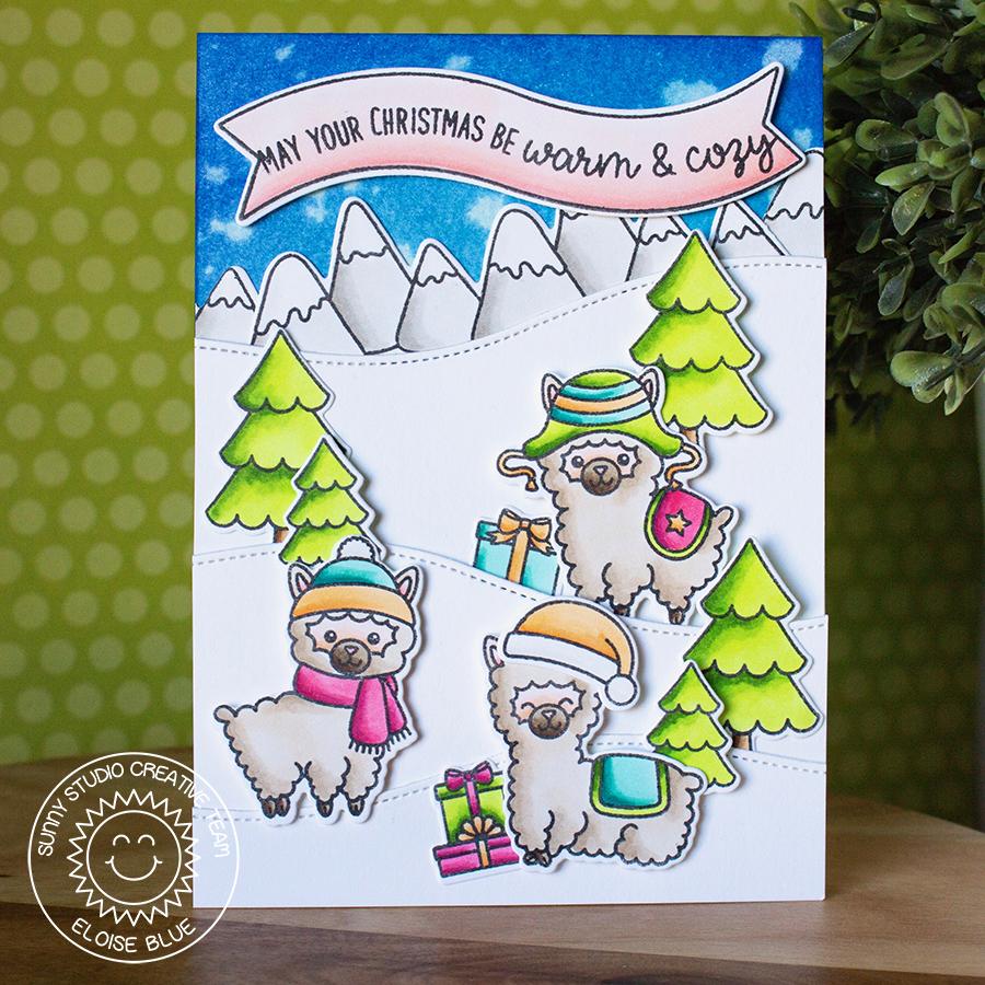 sunny studio stamps alpaca holiday snowy hilltop christmas card by eloise blue - Hilltop Christmas