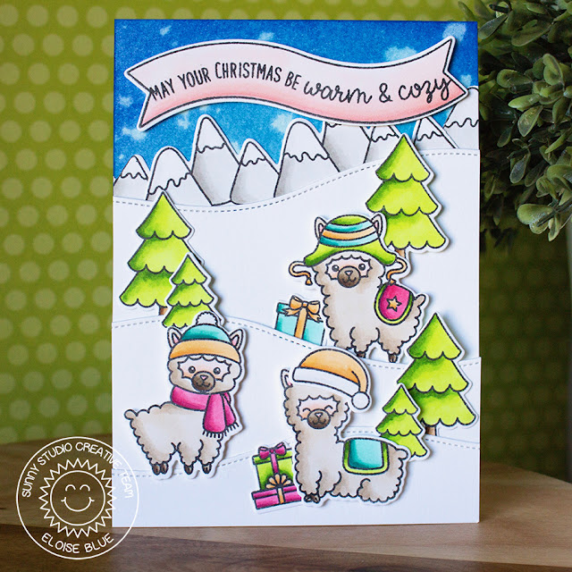 Sunny Studio Stamps: Alpaca Holiday Snowy Hilltop Christmas Card by Eloise Blue