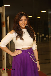 Mehareen Kaur in a Purple Skirt and Tight Cream Top Spicy Beautiful at Okkadochadu Audio Launch