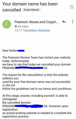 Email suspend domain oleh Freenom, tanpa alasan yang pasti