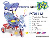 Sepeda Roda Tiga Family F9956TJ Kelinci dengan Suspensi, Kanopi dan Jok Kain