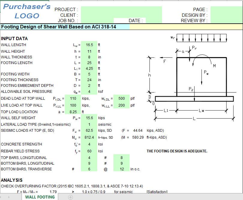 Footing Design Of Shear Wall Based On Aci 318 14