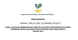 Pengumuman Seleksi Administrasi Pendamping PKH 2017