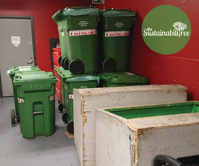 Compost bins piled one on top of the other at uOttawa