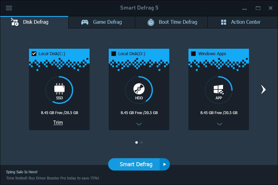 IObit Smart Defrag 5 Pro, Smart Defrag, disk birleştirme