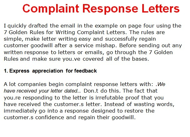 Complaint letter template october 2012 for Replying to a complaint letter template