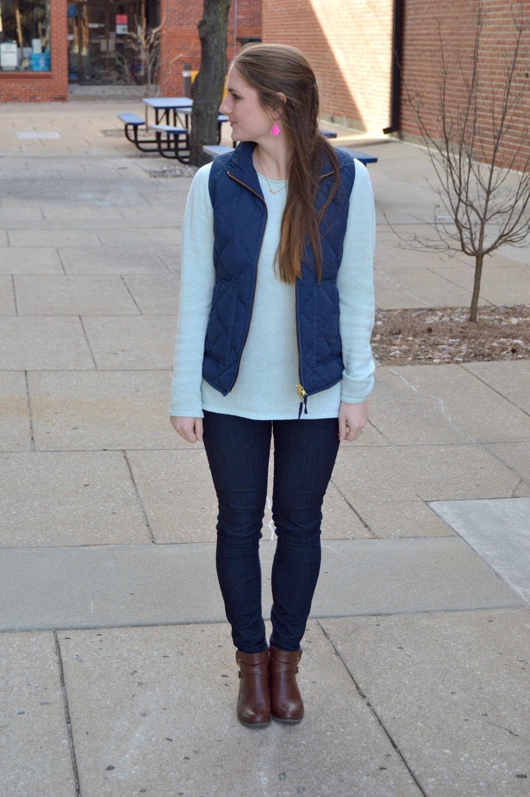 new ways to style a navy puffer vest