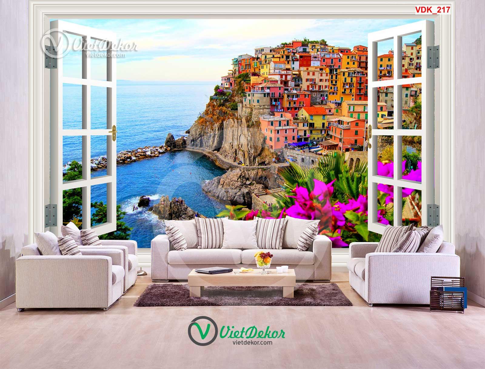 Tranh dán tường 3d cửa sổ thành phố và biển