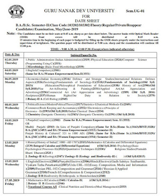 Date sheet of BA/BSC May/June 2019