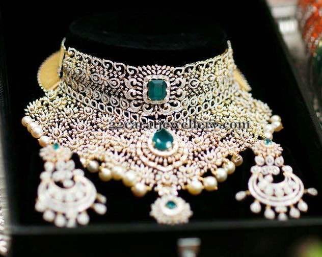 Heavy Diamond Set with Huge Earrings