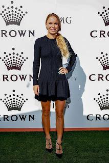 Caroline Wozniacki in Black Dress at Crown IMG Tennis Party