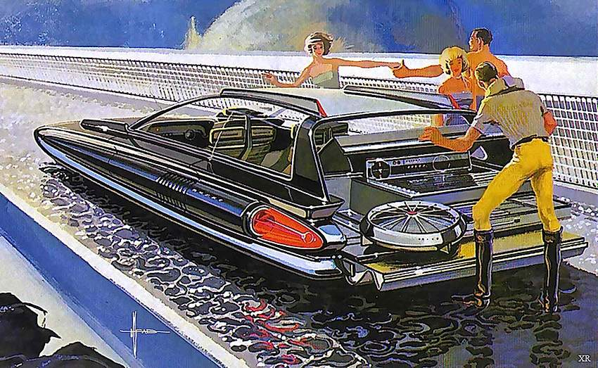 a 1960s Syd Mead concept car illustration