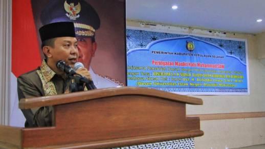 Bupati, H.M. Basli Ali Sampaikan Pesan Moral, Pada Peringatan Maulid Nabi Muhammad SAW