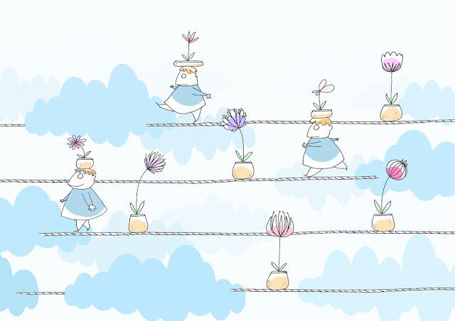 disegno di bambini su corde tirate nel cielo